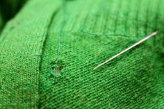 Here's how to mend holes in knits. I had no idea you should do it this way