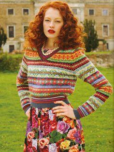 Ravelry: V neck Fair Isle Sweater pattern by Debbie Bliss Fair Isle Pullover, Fair Isles, Knitting Magazine, Fair Isle Knitting, Pretty Outfits, Redheads, Lana, Ideias Fashion, Knitwear