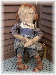 Raggedy Ann Doll Raggedy Ann Primitive Raggedy Ann by mustardseed