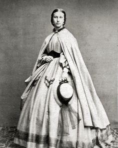 8 by 10 Civil War Photo Print Woman Lovely Dress, Cloak. Medici belt, nice hat