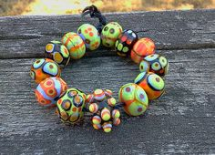 Handmade Glass Lampwork Bead set by sharonsolly on Etsy, $35.00