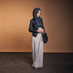 """- Wardrobe Fix: One of the many ways you can style our staple maxi dress, for a fashionable and edgy look.  Long Grey Maxi Dress Carbon Blue Modal Hijab…"""