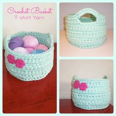 Crochet basket with t-shirt yarn. Free pattern in: http://crochetincolor.blogspot.com.es/