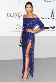 Cosmo cover girl Nina Dobrev in Elie Saab at amfAR's 2011 Cinema Against AIDS Gala www.cosmopolitan....