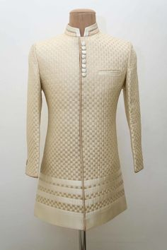 men outfits - Portfolio of Gabbana Life Groom Wear in Chennai Wedmegood Sherwani For Men Wedding, Wedding Dresses Men Indian, Sherwani Groom, Wedding Dress Men, Mens Sherwani, Mens Indian Wear, Indian Men Fashion, Indian Groom Dress, Mens Kurta Designs