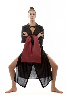 Red Leather Hobo Bag  Every day Shopping Bag  by EleannaKatsira, €210.00