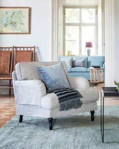 Elevate your IKEA sofa with an exquisite Bemz slipcover made in collaboration with world renowned design house Romo. Ikea Stocksund, Ikea Armchair, Beige Room, Teal Sofa, Overstuffed Chairs, Rich Home, Living Spaces, Living Rooms, Lounge