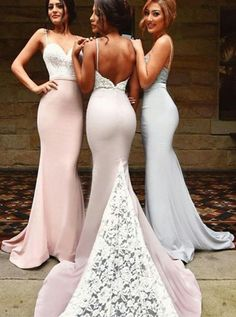 Sexy Spaghetti Long Bridesmaid Dresses With White Lace