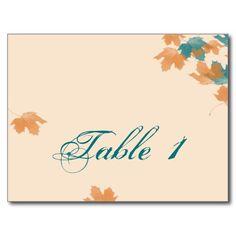 Orange Aqua Autumn Maple Leaf Wedding Table Number Postcards