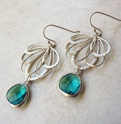"""Bohemian Teal Jewel Fan Earrings in Silver. $29.50, via Etsy. Something blue for bridesmaids gifts. Part of the Holly + Paul (from """"Breakfast at Tiffany's) tailored uptown wedding inspiration board."""