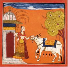 Bhairavi Ragini Bairavu~i-Ragini (second wife of Bairavu-raga). Rajput painting Pahari school cycle 1700-1710.