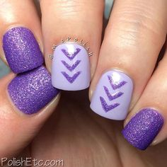 """For Day 8 of the #omd3nails challenge, the prompt is """"V Shape"""". That means chevron, right? So I used some cool vinyls from @glammymani and some purple polishes to create this look. The textured polish is Sinful Colors """"Purple Gleam"""" ( thanks @gotnail for sending me the awesome textureds you lemming crusher!) and the lavender creme polish is Sally Hansen """"Water Orchid"""". I don't wear purple polish enough. That needs to be remedied. emojiemojiemoji #chevron #glammymani #sinfulcolors…"""