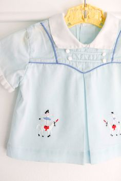 3-6 months: Blue Baby Diaper Shirt with Circus Acrobat and Horse Embroidery, white collar and cuffs, button and piping trim, for boy or girl... www.etsy.com/shop/petitpoesy