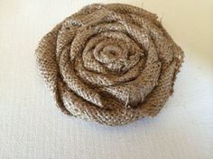 Four Inch Tan Burlap Flat Rose on Etsy, $8.00