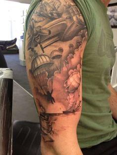 Military War Tattoo On Half Sleeve For Men Army Tattoos, Leg Tattoos Women, Upper Arm Tattoos, Military Tattoos, Police Tattoo, War Tattoo, Cover Up Tattoos, Body Art Tattoos, Forearm Tattoos