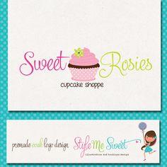 Premade Logo Design Hand Drawn Cupcake by stylemesweetdesign, $85.00