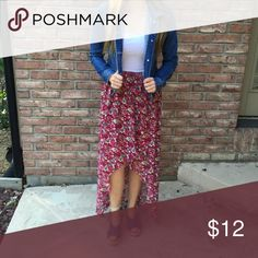 Pink Floral High-Low Skirt This high-low skirt brings out the fun on summer! Mix and max your own look to add a personal flare. Allen B. Skirts High Low