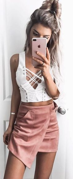 #summer #outfits White Tie-up Crop Top + Pink Suede Wrap Skirt 💞