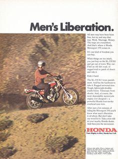 1971 Honda Motorsport SL 350 On Off Road Motorcycle Men's Liberation Print Ad Motorcycle Images, Motorcycle Men, Nitro Circus, Triumph Motorcycles, Monster Energy, Vintage Advertisements, Vintage Ads, Motocross, Ducati