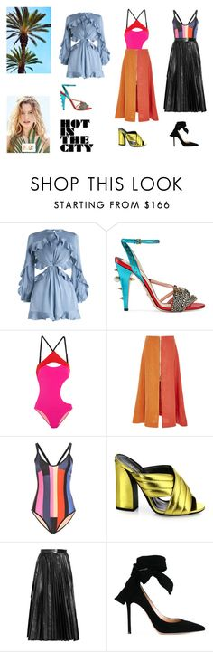 """Hot in the city"" by ingridsammara on Polyvore featuring moda, Zimmermann, Gucci, L'Agent By Agent Provocateur, Tata Naka, P.E Nation, Valentino, Gianvito Rossi e Body by Victoria"