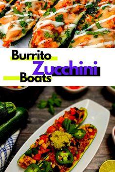 Burrito Zucchini Boats Zucchini Boats, Big Bowl, Easy Food To Make, Burritos, Cherry Tomatoes, Cilantro, Vegetable Pizza, Coloring Books, Protein