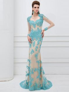 Sheath/Column Sweetheart Sweep/Brush Train Tulle Lace Dress http://www.sheadline.com  http://www.sheadline.com/index.php/prom-dresses.html