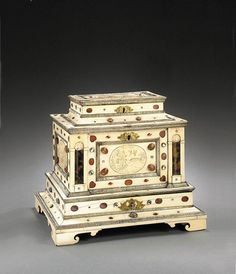 A German Augsburg casket, 17th century. Ivory, silver, tortoiseshell, agate and other precious stones, guilded engraved bronzes. -TORKILD Fine Cabinets and Antiques-