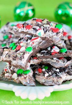 The perfect easy, no bake holiday treat! Christmas Bark! @Backforseconds #candy #christmas #nobakedessert