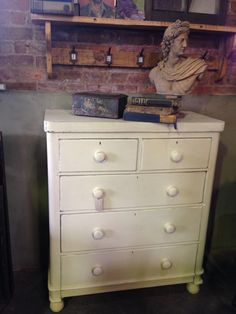Victorian painted chest of drawers in Annie Sloan Old White Chalk Paint. £229