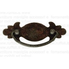 Maniglia per mobili antichi in ferro anticato