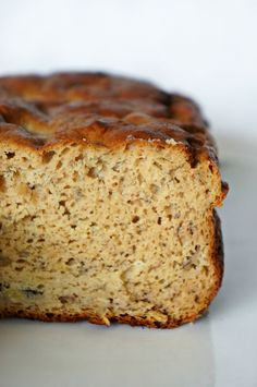 Finally! A moist, no-sugar-added, gluten-free, oil-free, whey protein  banana bread!  Banana bread is and always has been one of my favorite baked goods so I HAD  to create a healthy version so I won't feel guilty eating 2 or 3 pieces. Or  6.  If you have ever tried baking with whey protein powder, you already know  how difficult it is to work with it. If you use more than 1/4 protein in  your batter, it comes out extremely dry and rubbery. Ew. Trust me, I have  made plenty of protein…
