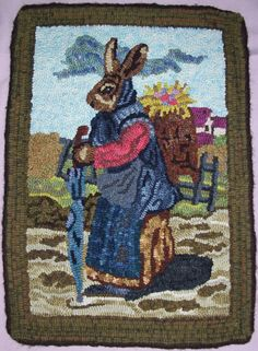 Hand Hooked Bunny Rug by jasannas1 on Etsy.