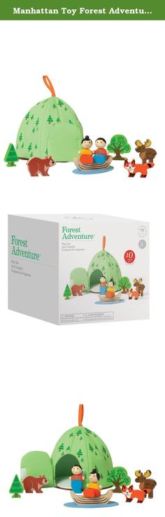Manhattan Toy Forest Adventure Wooden Toddler Activity Set. A mountain of woodland themed fun! Includes 8 wood pieces, one felt pretend pond and soft storage case. Storage case features Velcro-like closure and fabric loop on top. The Forest Adventure Activity Toy fosters social skill development through pretend play. For over 30 years, Manhattan Toy has been making award-winning, high quality, educational toys for your baby, toddler or kid. From preschool activity centers and learning…