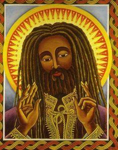 Yeshu Rastafarian Jesus sent in by Peter Outerbridge Jah Rastafari, Rastafari Quotes, Religious Icons, Religious Art, Religious Images, Bob Marley, Rasta Art, Rasta Lion, Haile Selassie