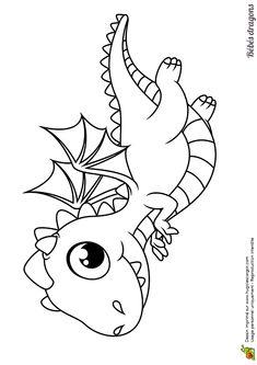 Tu peux dessiner des nuages pour accompagner ce petit dragon, dessin à colorier