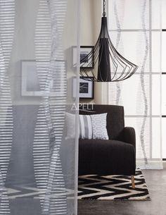 loft style - transparenter Vorhang HELIX und KIssen MIRON von Apelt