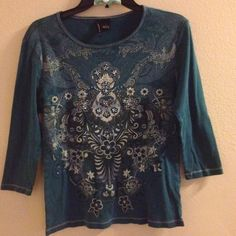 Detailed Blue Top 3/4 Sleeves Detailed Top with Beautiful Design in the front and the back. 100% Cotton. GUC. DONT FORGET TO BUNDLE 15% OFF 3+ LISTINGS OR MORE! new directions Tops Blouses