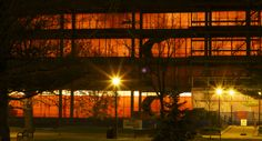 The then under-renovation MacOdrum Library -- the orange sheets made it look so vibrant and dynamic in the evening. Peter T Leadership, Vibrant, Collage, Orange, How To Make, Collage Art, Collages, Colleges