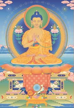 Buddha Maitreya is the embodiment of the loving-kindness of all the Buddhas, whose function is to guide all beings along the stages of the path to enlightenment. His hands are in the gesture of teaching Dharma, holding the stems of two lotuses symbolizing his omniscient wisdom. The lotus on his right supports the Wheel of Dharma and the vase on his left is filled with life-giving nectars. On his crown is a stupa symbolizing his Spiritual Guide, Buddha Shakyamuni.