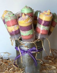Spring Rainbow Push-Up Pop Cupcakes - Cookies and Cups