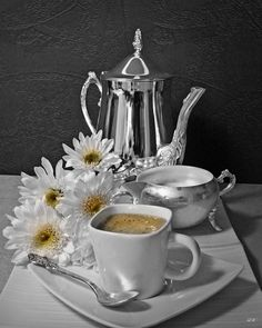 Morning Coffee w White Mums BW w Color