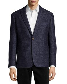 """Home :: Blazers :: English Laundry Wool-Blend Two-Button Woven Blazer, Navy, Men's, Size: XL English Laundry Wool-Blend Two-Button Woven Blazer, Navy Details Neiman Marcus woven blazer. Notched lapels; two-button front. Three-button cuffs. One chest pocket; two patch pockets at hip. Regular fit. Vented back. Wool/polyester/cotton. Dry clean. Imported. Model's measurements: Height 6'1""""/185cm, waist 30.5""""/77.5cm, typicallyRead more"""