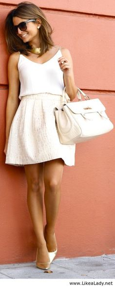 White dress and gold accessories