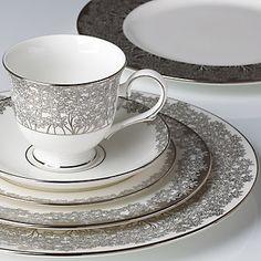L by Lenox® Silver Bouquet 5-piece Dinnerware Place Setting   FREE Soup Bowl