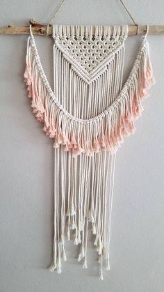 This item is made to order and will vary slightly from the photos above. I do my best to find similar materials, while also making each piece unique and one-of-a-kind. Created from California driftwood, ivory rope and dip-dyed in a variety of dye color options. Let me know which color you