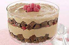 Brownie Coffee Trifle recipe - coffee drizzled brownies with coffee/chocolate pudding.