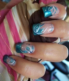 French white nails with lovely floral decoration