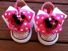 Minnie Mouse Swarovski Converse  Infant/Toddler Size. $75.00, via Etsy. Ella needs these for her B-day!