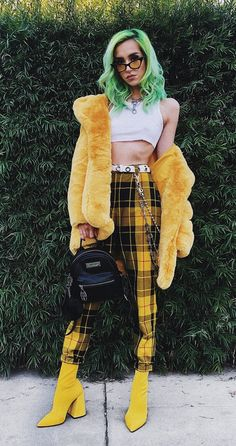 Shades with white crop top, faux fur coat, yellow tartan plaid pants & ankle boots by linabugz - #grunge #fashion #alternative