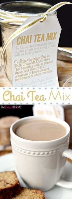 Tea Mix (FIVEheartHOME) Chai Tea Mix is a unique homemade food gift for those who love Chai Tea! Use the mix to whip up.Chai Tea Mix is a unique homemade food gift for those who love Chai Tea! Use the mix to whip up. Tea Recipes, Cooking Recipes, Recipies, Drink Recipes, Yummy Drinks, Yummy Food, Tasty, Homemade Food Gifts, Homemade Chai Tea